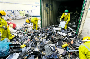 waste being collected at landfill